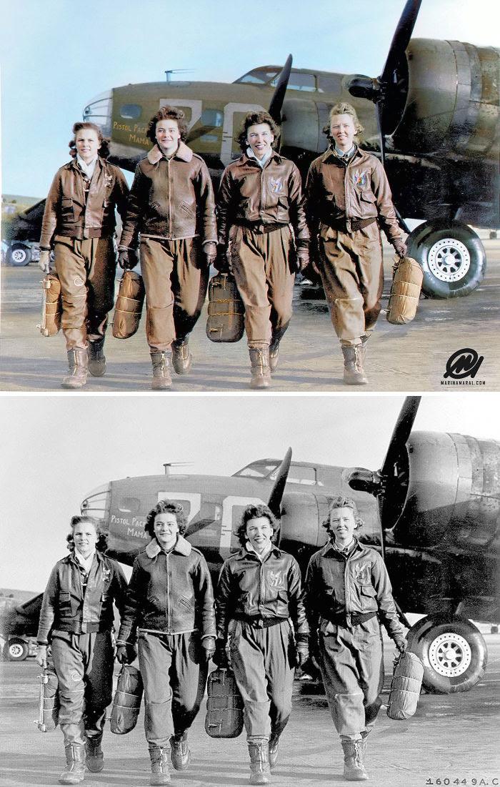 Cuatro pilotos bajándose de su avión en Lockbourne AAF, 1944