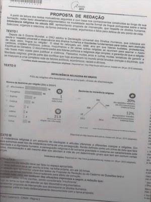 Nova imagem que seria da proposta de redação do Enem 2015 circula pelas redes (Foto: Marcello Menezes / Arquivo pessoal)