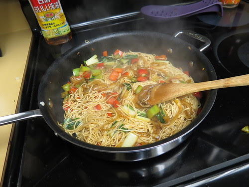 noodles and broth mixture in