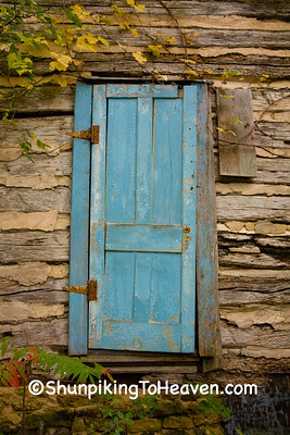 Turquoise Door on Old Log Cabin, Vernon County, Wisconsin