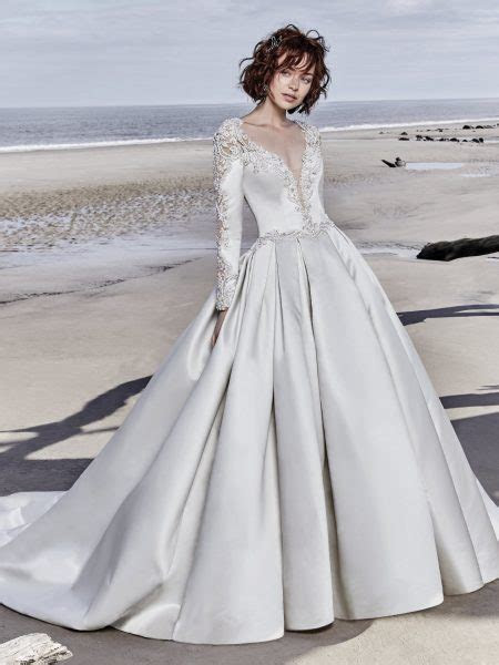 Long Sleeved V neck Crystaled Lace And Satin Ball Gown
