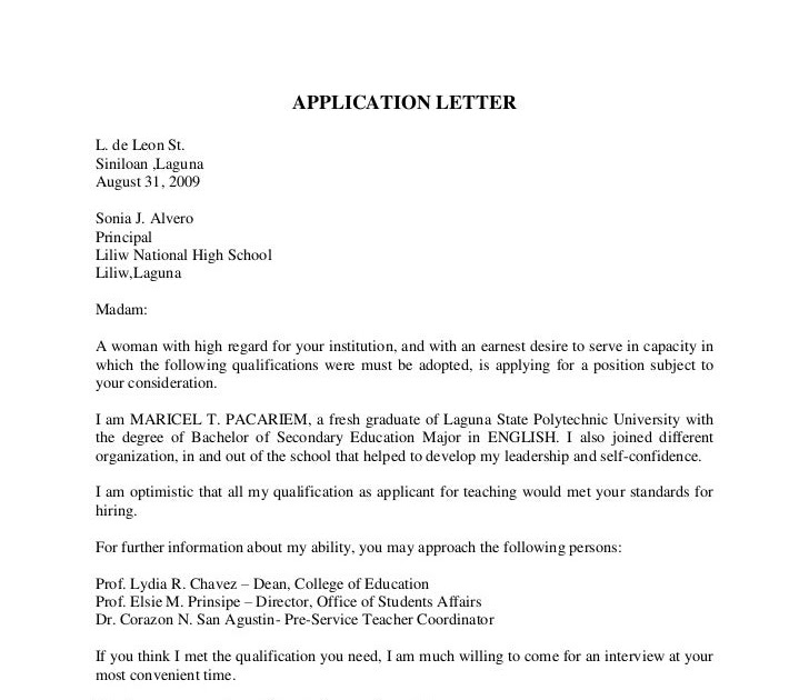 Prof Resume: Sample Application Letter