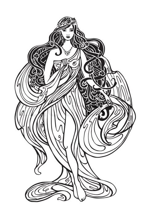 art nouveau styled woman  long flowing hair