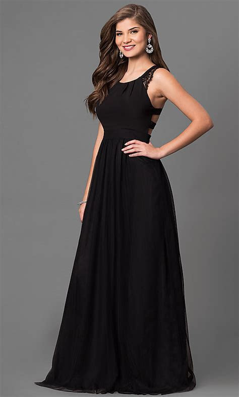 Long Cut Out Black Prom Dress with Lace   PromGirl
