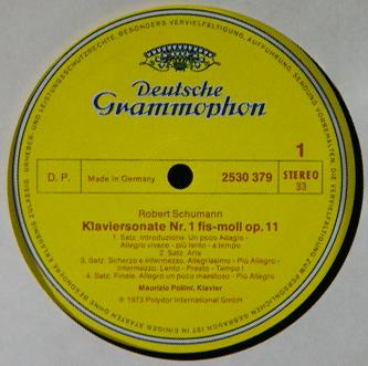 Pollini/SCHUMANN:PIANO SONATA No.1 、FANTASIE DG 2530 379