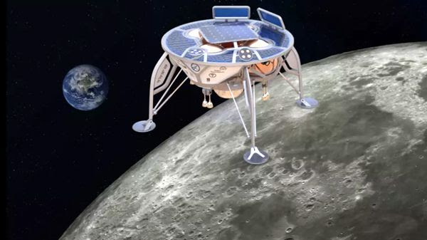 An artist's concept of SpaceIL's lunar lander approaching the surface of the Moon.An artist's concept of SpaceIL's lunar lander approaching the surface of the Moon.