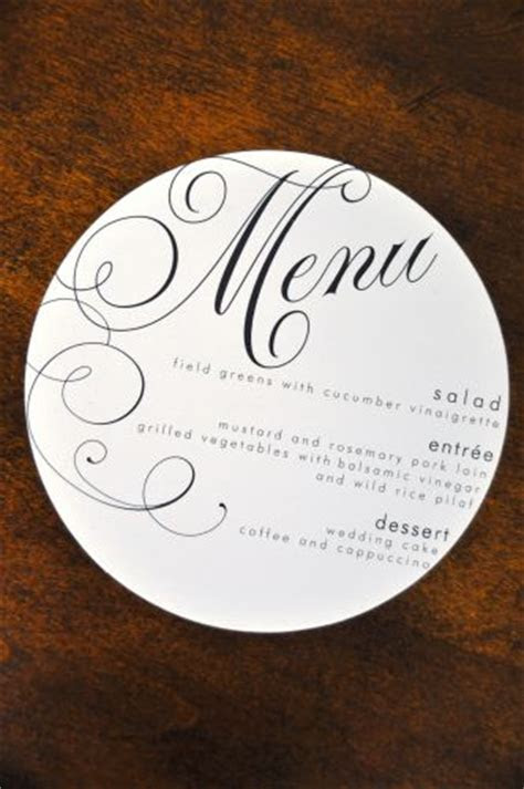Round Wedding Menu   Wiregrass Weddings