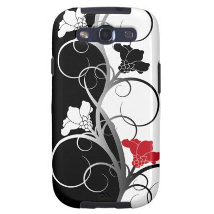 Black and White Flowers Galaxy S III Case Galaxy SIII Covers