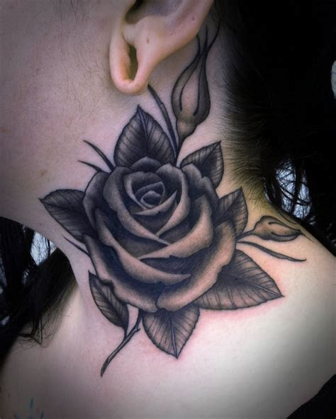grey rose tattoo  side neck