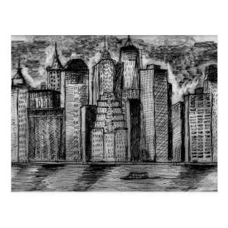 Gritty City Skyline Art on Postcard
