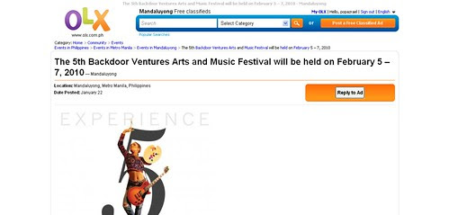 The 5th Backdoor Ventures Arts and Music Festival will be held on February 5 – 7, 2010 - Mandaluyong - Events_1264201578355