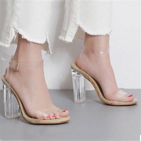 HOT Selling Women PVC Clear High Heels Sandals Wedding