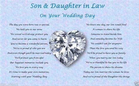 Details about SON & DAUGHTER IN LAW  Wedding Day (Poem