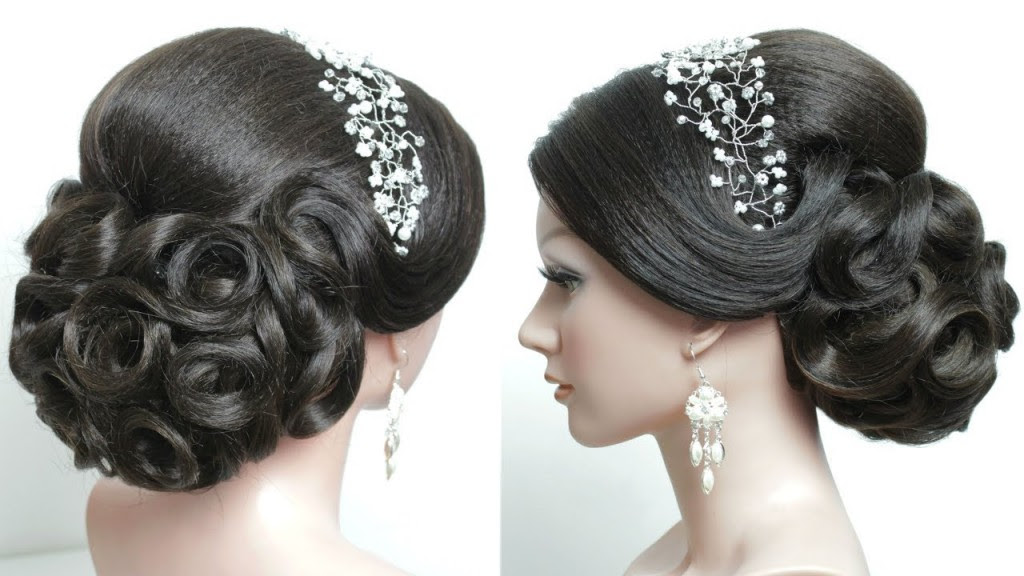 Bridal hairstyle  for long hair  tutorial Prom updo step  by