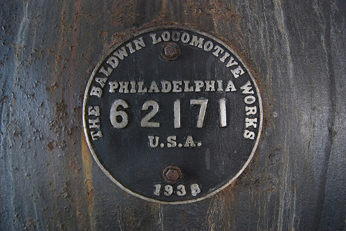 The 700's Baldwin Locomotive Works builder's plate