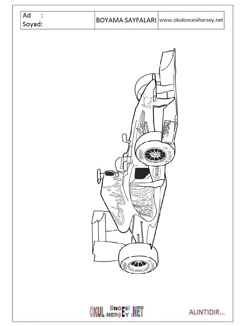 F1 Formula 1 Boyama Sayfaları