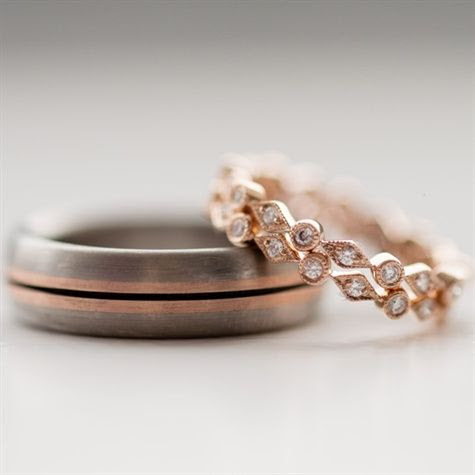Wedding bands in rose gold