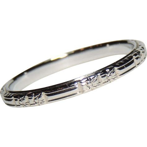 Art Deco Belais 18k White Gold Wedding Band, Ring, Stacker