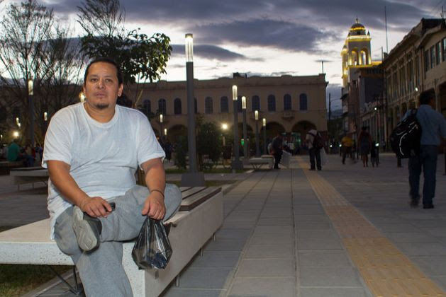 """The last thing I want to do, now that I'm back in El Salvador, is to be cooped up in a house; I want to feel the air of freedom,"" said David Antonio Pérez, who spent five years in different detention centres for undocumented migrants in the United States. After sitting for a while in the La Libertad square in the historic centre of San Salvador, he checked into a small hostel to get a good night's sleep before heading to his parents' home in a town south of the capital. Credit: Edgardo Ayala/IPS"