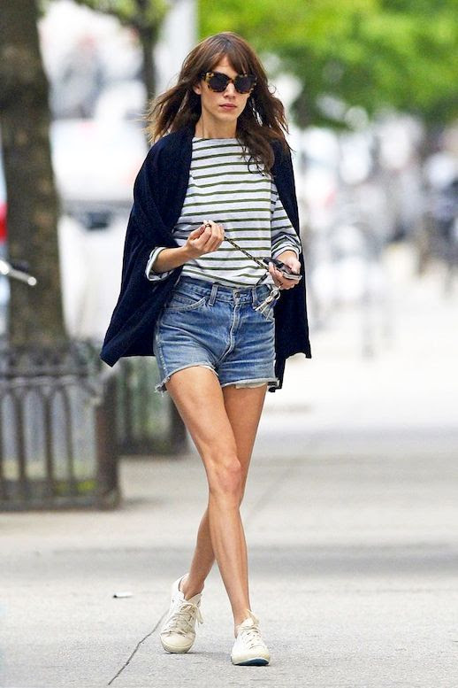 8 Le Fashion Blog 40 Of Alexa Chung Best Looks With Denim Shorts Cape Jacket Striped Tee Jean Cut Offs Via Marie Claire