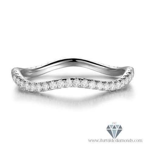 Unique Bent Wave Diamond Eternity Wedding Band 14k Gold