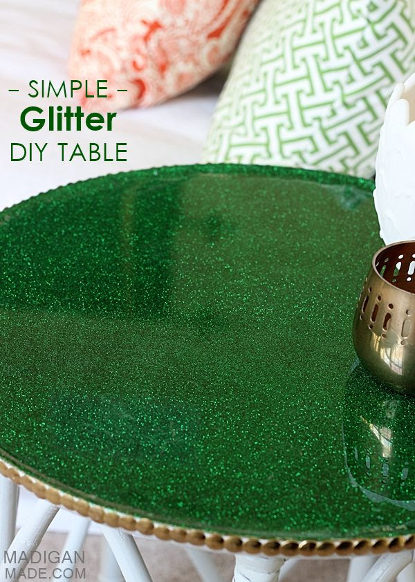 DIY simple glitter covered table makeover - now I want to cover everything in glitter!