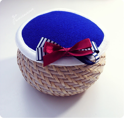 ♥ New hand-made pill box hat, toczek, fascynator, filc, kokardka, styl marynarski