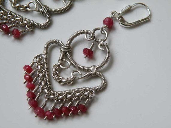 Ruby gemstone and Sterling Silver wire by DancingLotusDesigns,