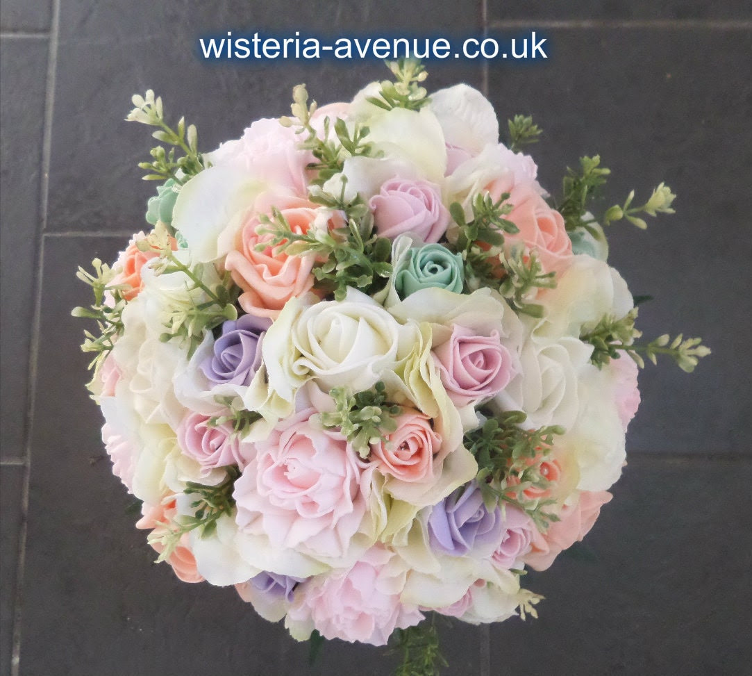 Large Pastel Rose and Hydrangea Brides Bouquet - Including Mint, Pink, Peach, Lilac and Ivory
