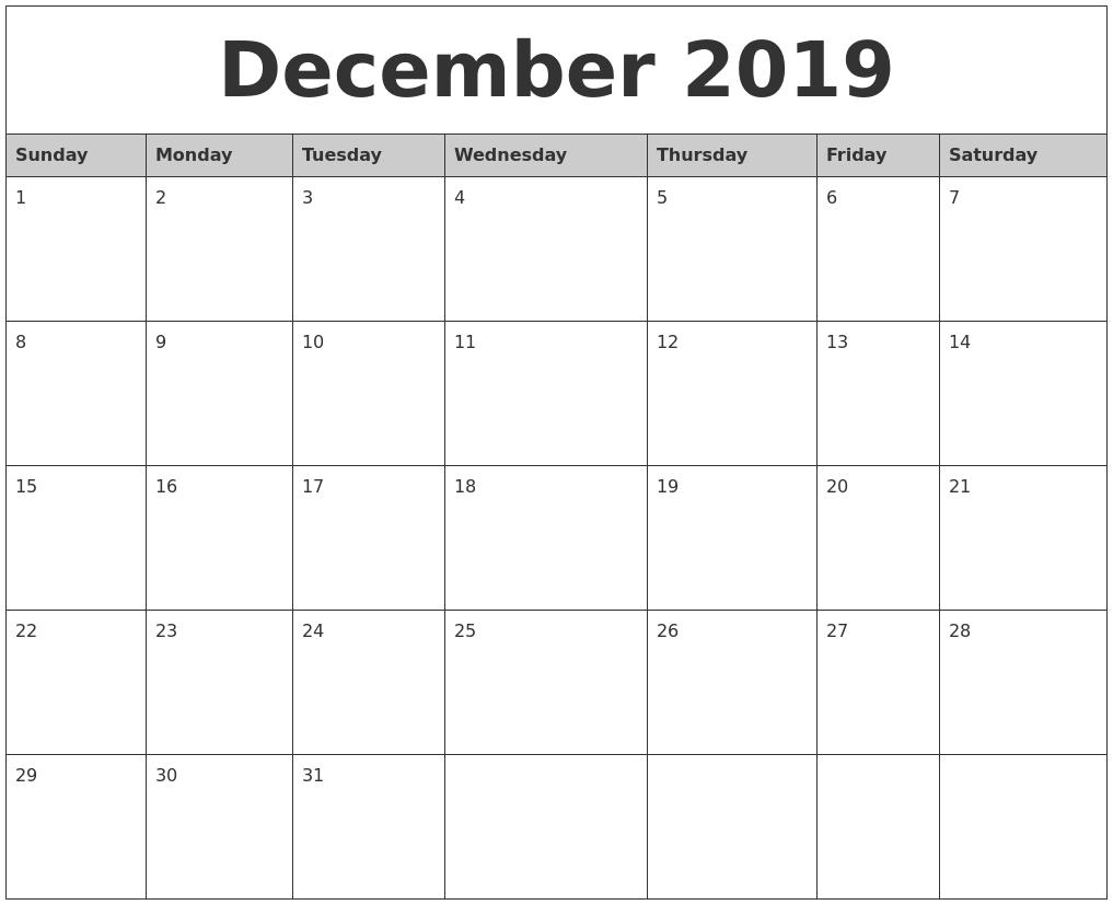 december 2019 monthly calendar printable full weekday