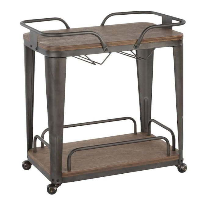 Lumisource Oregon Industrial Bar Cart In Antique Metal And Espresso Wood Pressed Grain Bamboo By Lumisource In The Kitchen Islands Carts Department At Lowes Com