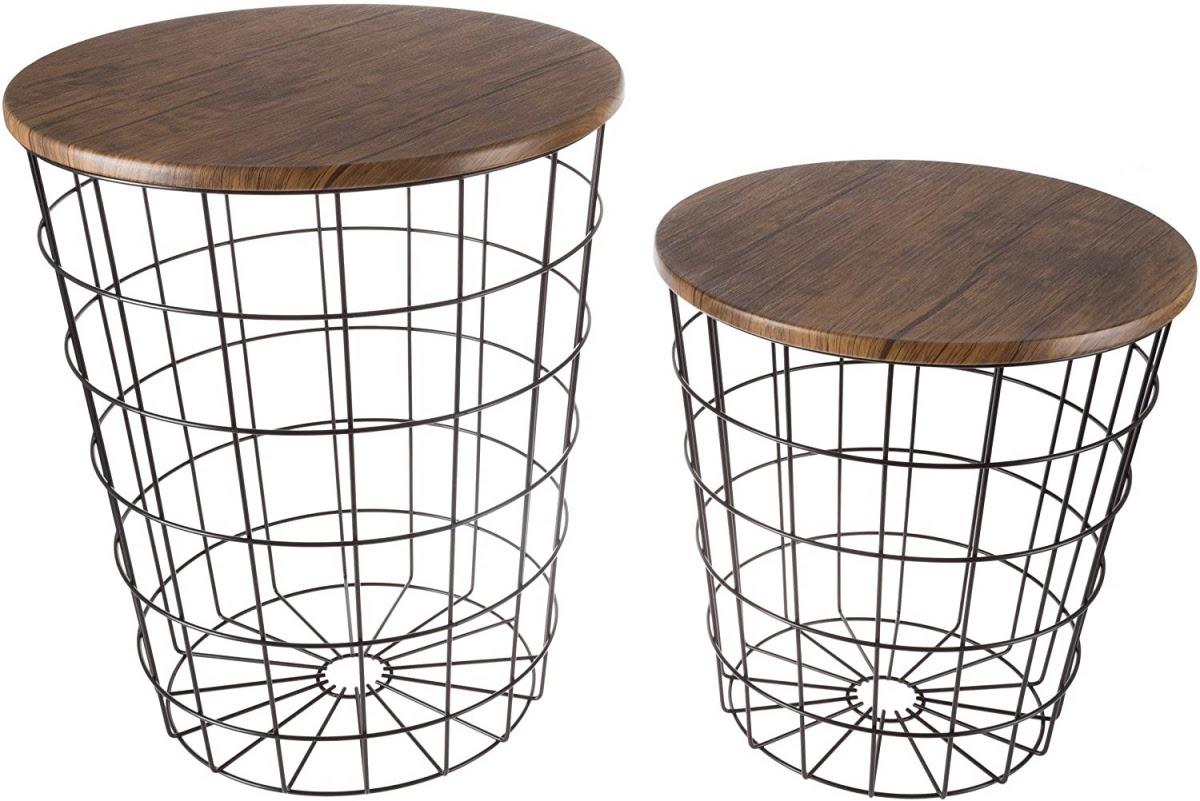 Lavish Home 80-ENDTBL-21 Nesting End Storage Convertible Round Metal Basket Wood Veneer Top Accent Side Tables, Dark Brown