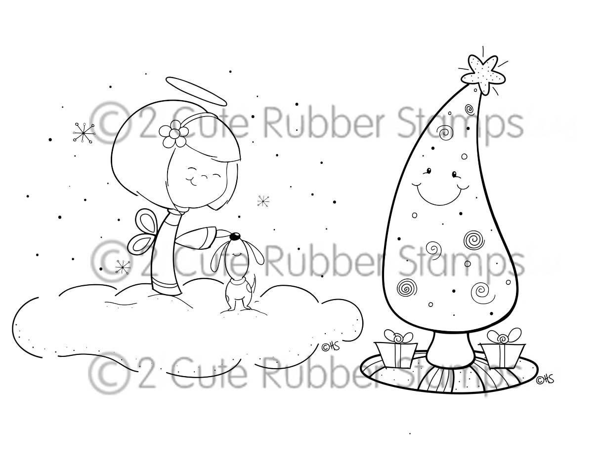 Winter Angel and Holiday Tree Digital Stamps