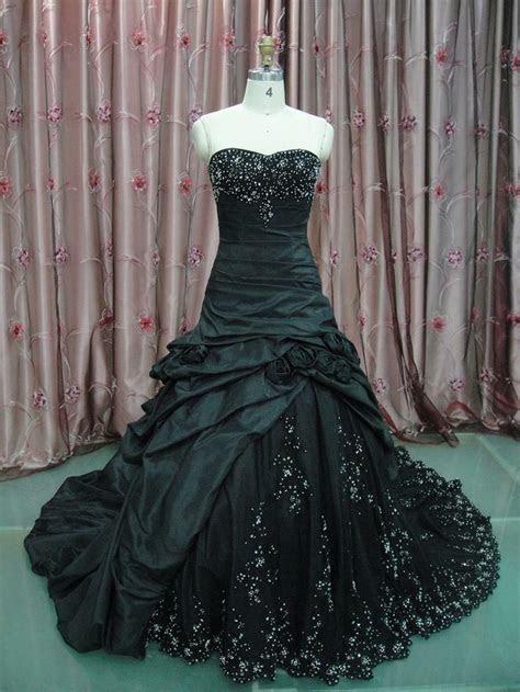 vintage black wedding dress gothic strapless bridal ball