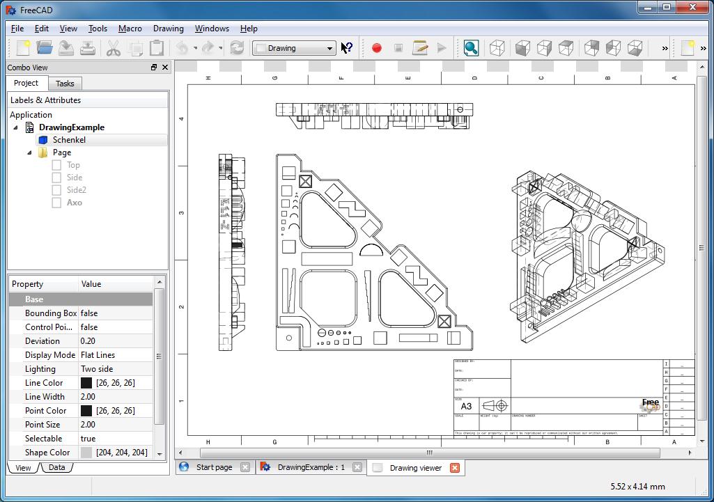 برنامج فرى كاد لانشاء رسومات هندسية ثنائية وثلاثية الابعاد لمجالات الهندسة FreeCAD 0.13