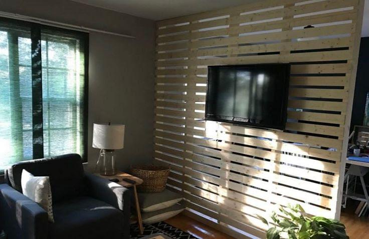 Diy Wood Plank Slat Wall Divider Room Divider Bookcase Room Divider Walls Living Room Divider