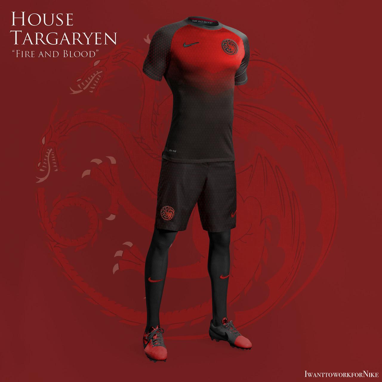 Equipaciones futboleras tipo Juego de Tronos - Targaryen