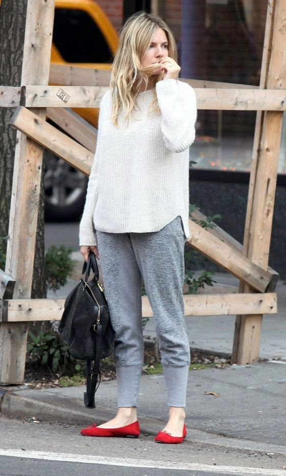 Le Fashion Blog Sienna Miller Wavy Hair White Ribbed Sweater Grey Sweat Pants Black Sofia Coppola Suede Bag Red Flats Celebrity Style photo Le-Fashion-Blog-Sienna-Miller-Wavy-Hair-White-Ribbed-Sweater-Grey-Sweat-Pants-Black-Sofia-Coppola-Suede-Bag-Red-Flats-Celebrity-Style.jpg