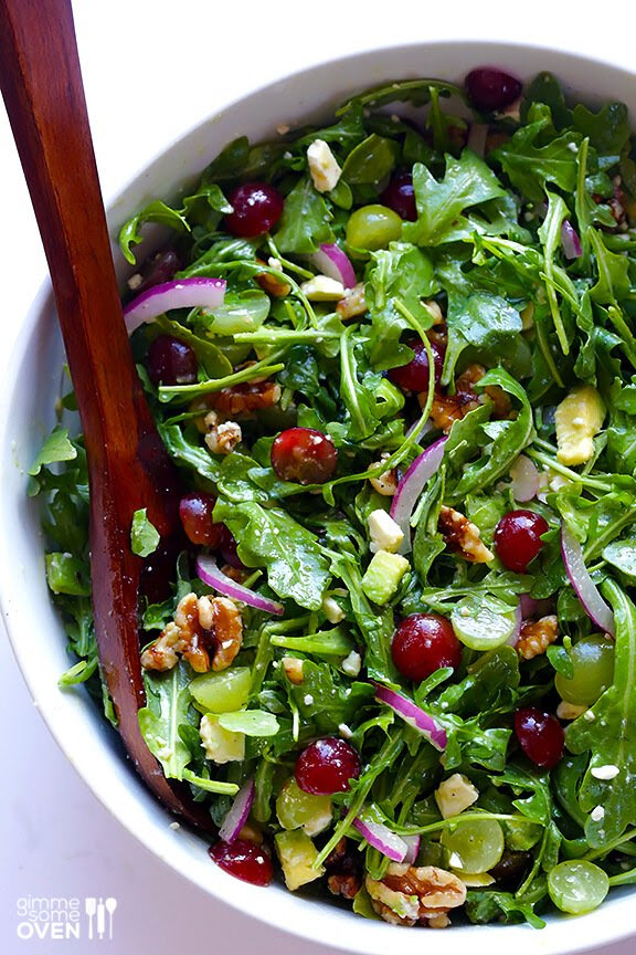 Grape, Avocado & Arugula Salad | gimmesomeoven.com #glutenfree