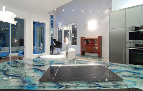 Ocean Inspiration by Think Glass Kitchen Countertops, Glass