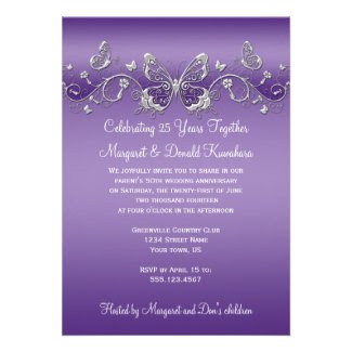 Purple with Silver Butterflies 25th Anniversary
