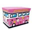ストレージボックス スツール ワゴンバス フラワーピンク【おもちゃ箱】で座れて収納もでき...