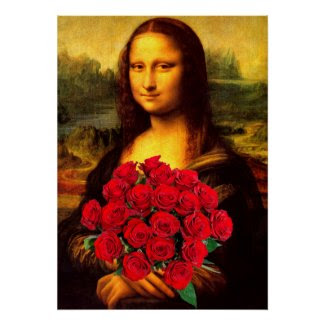Mona Lisa With Bouquet Of Red Roses Print