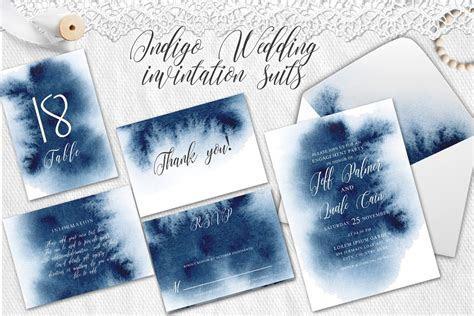 Indigo Watercolor Wedding Invitation suite