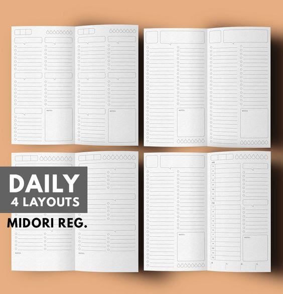 Midori Insert, Daily Planner Insert Midori, Midori Daily Planner ...