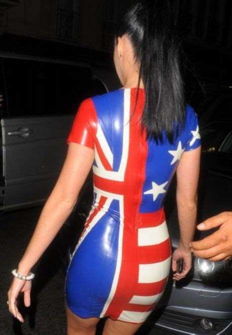 Katy Perry's sexy PVC dress flies the flag for England v