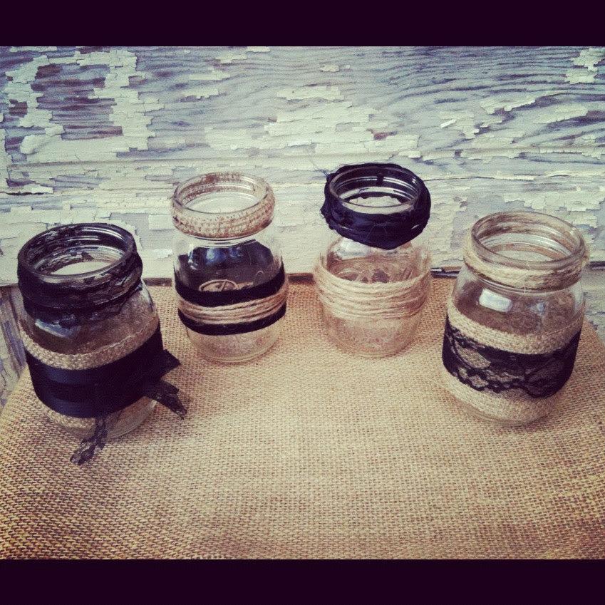 Items similar to 8 Burlap and Black Lace Mason Jar Set Wedding ...