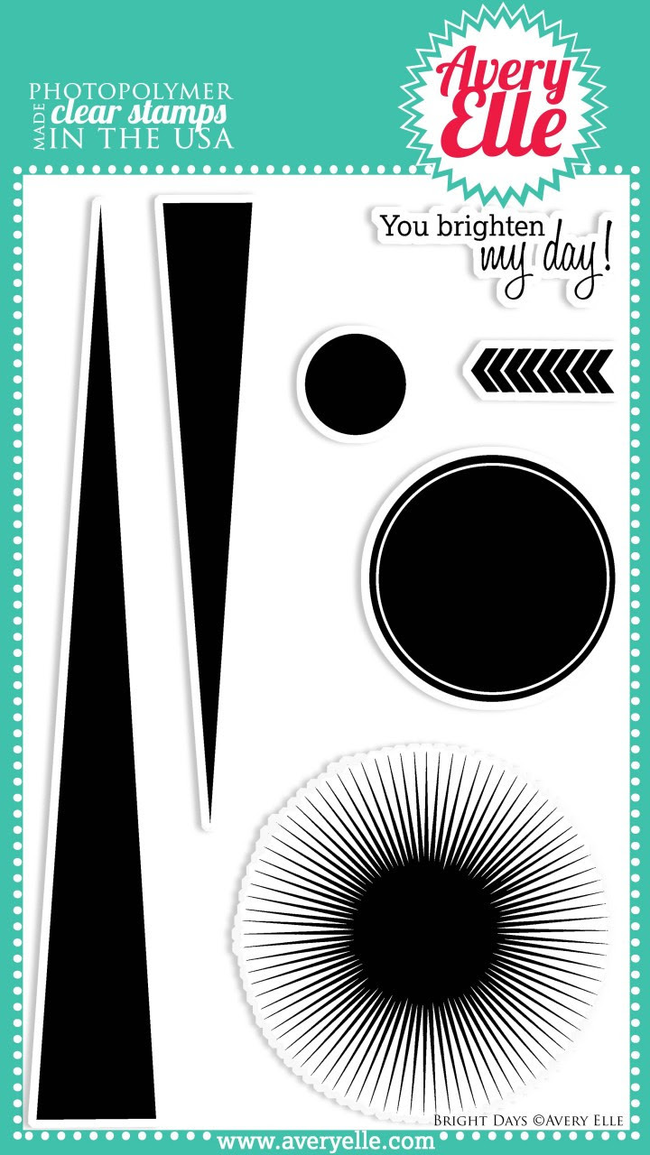 Our Bright Days Clear Photopolymer Stamps make us happy.  Whether you want to make a sunburst on a card, a bold sunshine ray background, a wavy pattern, or only use the circles for a clean and simple design, this clear stamp set will deliver!!