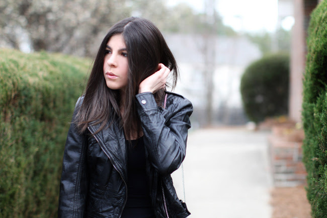 ballet flats, motorcycle leather jacket, fashion