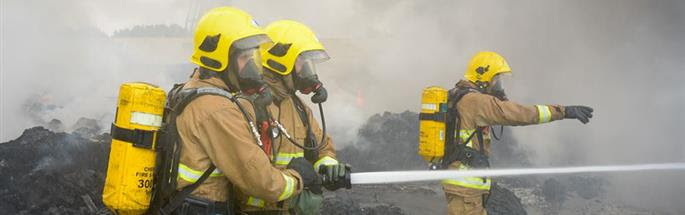 Firefighters dealing with a fire